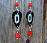 Ohio State Buckeyes Guitar Pick Earrings with Red Pave Beads