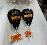 Pantera Official Live 101 Proof Guitar Pick Earrings with Orange Swarovski Crystal Dangles