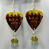 Pantera Group Picture Guitar Pick Earrings with Swarovski Crystal Dangles