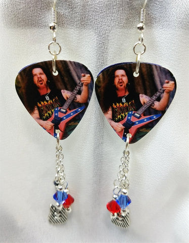 Dime Bag Darrell Pantera Guitar Pick Earrings with Swarovski Crystal and Charm Dangles