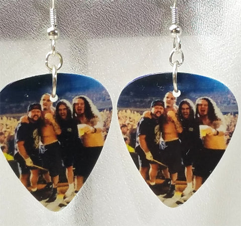 Pantera Group Picture on Stage Guitar Pick Earrings