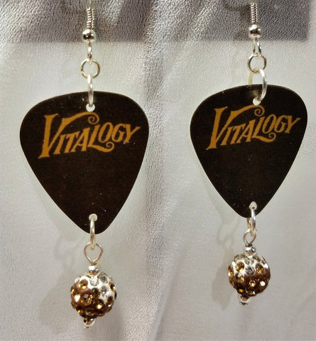 Pearl Jam Vitalogy Guitar Pick Earrings with Ombre Pave Bead Dangles