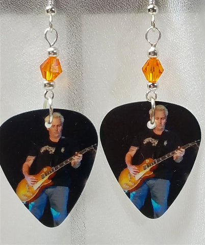 Pearl Jam Mike McCready Guitar Pick Earrings with Orange Swarovski Crystals