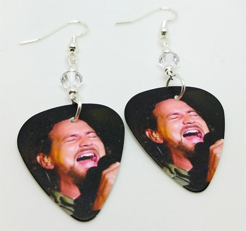 Eddie Vedder of Pearl Jam Guitar Pick Earrings with Clear Swarovski Crystals