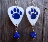 Penn State Lions Guitar Pick Earrings with Pave Bead Dangles