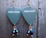 Gray Penn State Guitar Pick Earrings with Blue Swarovski Crystal Dangles