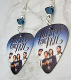 Pierce the Veil Guitar Pick Earrings with Blue Swarovski Crystals