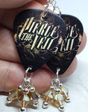 Pierce the Veil Guitar Pick Earrings with Metallic Sunshine Swarovski Crystal Dangles