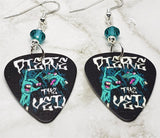 Pierce the Veil Guitar Pick Earrings with Teal Swarovski Crystals