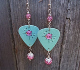 Turquoise Blue Pink Floyd Guitar Pick Earrings with Pink Pave Beads