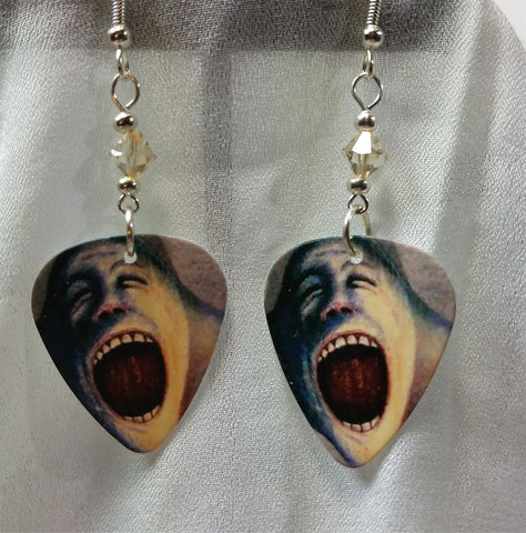 Pink Floyd The Wall Artwork Guitar Pick Earrings with Silk Swarovski Crystals