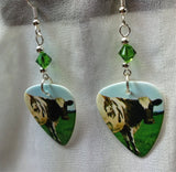 Pink Floyd Atom Heart Mother Guitar Pick Earrings with Green Swarovski Crystals