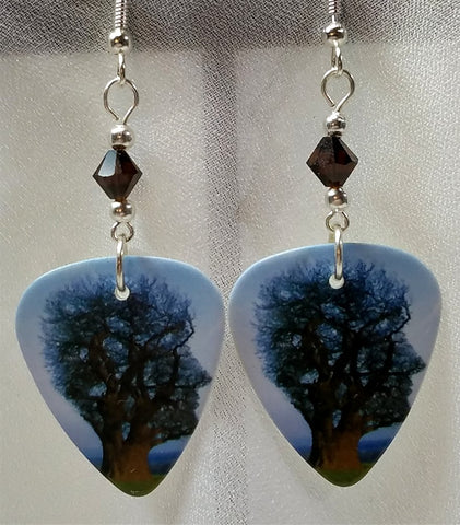 Pink Floyd Tree of Half Life Guitar Pick Earrings with Mocca Swarovski Crystals