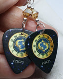 Horoscope Astrological Sign Pisces Guitar Pick Earrings with Metallic Sunshine Swarovski Crystals