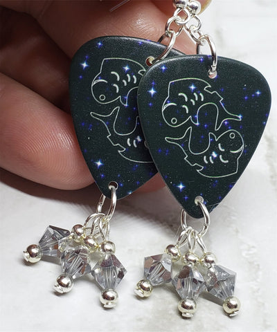 Horoscope Astrological Sign Pisces Guitar Pick Earrings with Metallic Silver Swarovski Crystal Dangles