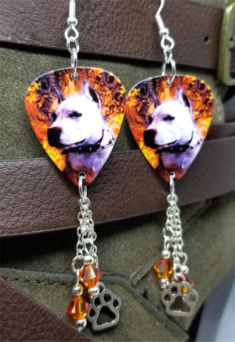 Pit Bull Guitar Pick Earrings with Paw Print Charm and Swarovski Crystal Dangles