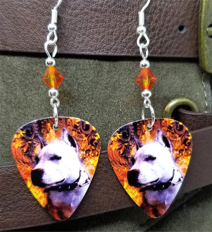 Pit Bull Guitar Pick Earrings with Fire Opal Swarovski Crystals