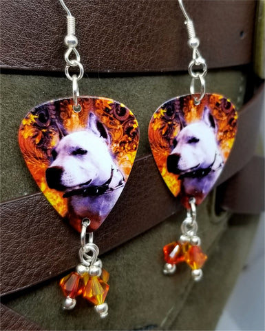 Pit Bull Guitar Pick Earrings with Fire Opal Swarovski Crystal Dangles