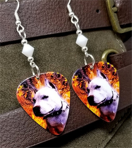 Pit Bull Guitar Pick Earrings with White Alabaster Swarovski Crystals