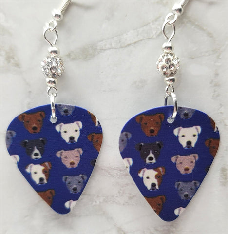 Pit Bull Guitar Pick Earrings with White Pave Beads