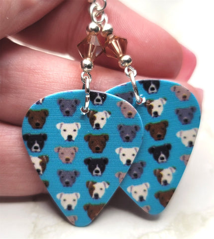 Pit Bull Guitar Pick Earrings with Smoked Topaz Swarovski Crystals