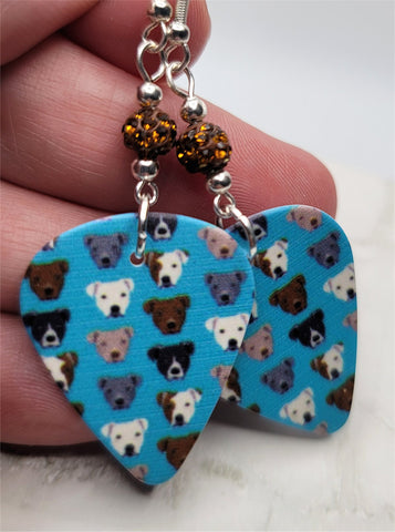 Pit Bull Guitar Pick Earrings with Brown Pave Beads