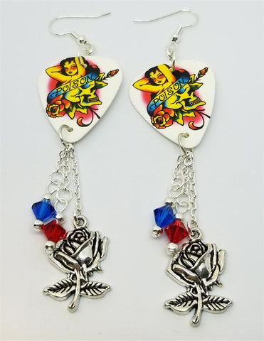 Poison Artwork Guitar Pick Earrings with Rose Charm and Swarovski Crystal Dangles