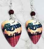 Poison Flesh and Blood Guitar Pick Earrings with Red Pave Beads