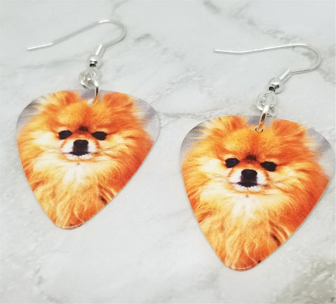 Pomeranian Guitar Pick Earrings
