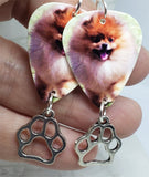 Pomeranian Guitar Pick Earrings with Paw Print Charms