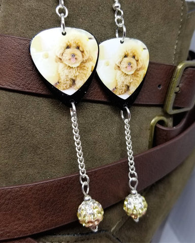 Tan Fluffy Poodle Guitar Pick Earrings with Tan Ombre Pave Bead Dangles