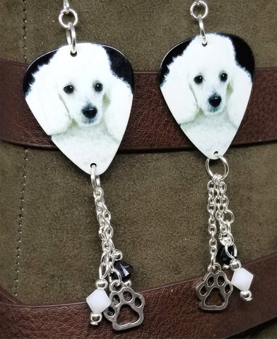White Mini Poodle Guitar Pick Earrings with Charm and Swarovski Crystal Dangles
