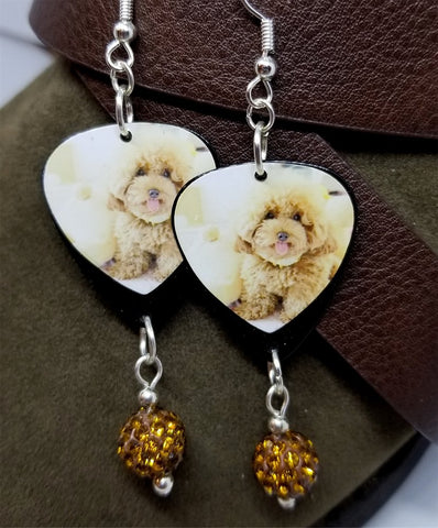 Tan Fluffy Poodle Guitar Pick Earrings with Brown Pave Bead Dangles
