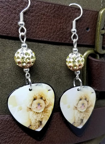 Tan Fluffy Poodle Guitar Pick Earrings with Tan Ombre Pave Beads