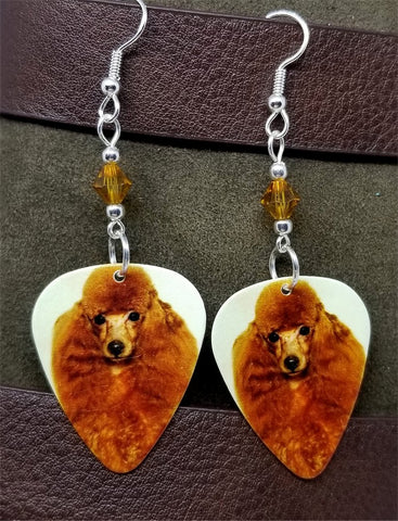 Apricot Poodle Guitar Pick Earrings with Topaz Swarovski Crystals