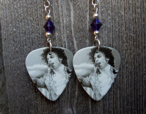 Black and White Prince Guitar Pick Earrings with Purple Crystals