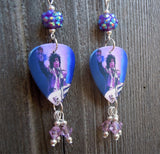 Prince on Stage Guitar Pick Earrings with Purple Swarovski Crystals and Rhinestone Beads