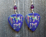 Prince 1999 Guitar Pick Earrings with Purple Swarovski Crystals