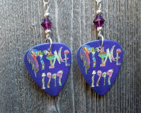 Prince 1999 Guitar Pick Earrings with Purple Crystals