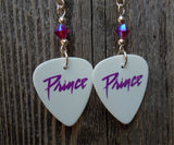 Prince Purple Rain Font Guitar Pick Earrings with Fuchsia Swarovski Crystals