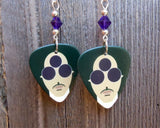Prince HitnRun Phase One Guitar Pick Earrings with Purple Swarovski Crystals