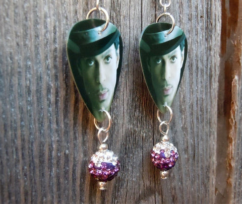 Close Up Prince Guitar Pick Earrings with Ombre Purple Pave Beads