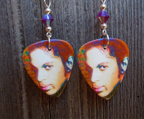 Prince Close Up Guitar Pick Earrings with Fuchsia AB Crystals