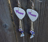 Prince Purple Rain Font Guitar Pick Earrings with Crystal Guitar Charm and Swarovski Crystal Dangles