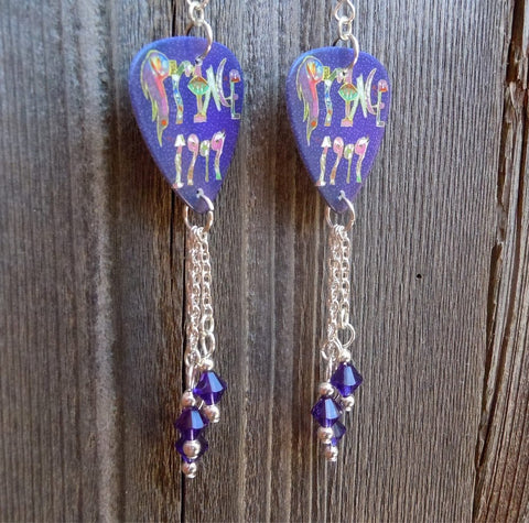 Prince 1999 Guitar Pick Earrings with Purple Swarovski Crystal Dangles