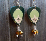 Prince HitnRun Phase Two Guitar Pick Earrings with Gold Crystal Dangles
