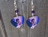 Prince on Stage Guitar Pick Earrings with Purple Crystals