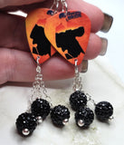 The Princess Bride Guitar Pick Earrings with Black Pave Bead Dangles