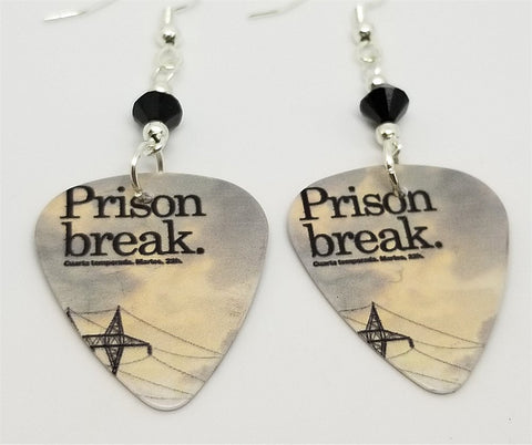 Prison Break Guitar Pick Earrings with Black Swarovski Crystals