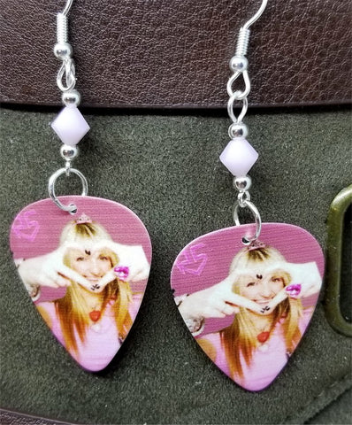 R5 Rydel Lynch Guitar Pick Earrings with Pink Alabaster Swarovski Crystals